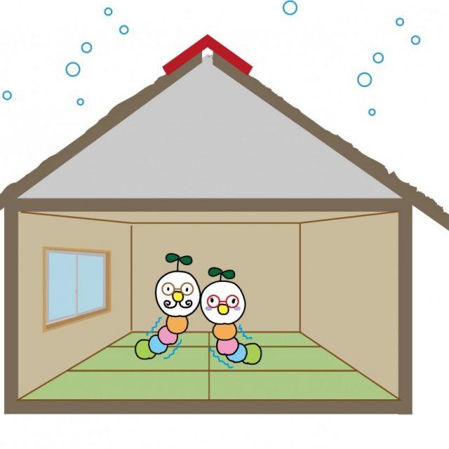 寒い家のイラスト